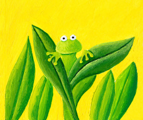 The frog is hiding behind the leaves