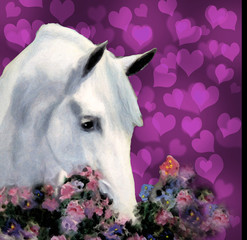 Andalusian Horse With Hearts and Flowers