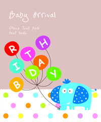 cute elephant happy birthday greeting card vector