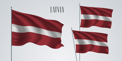Latvia waving flag set of vector illustration