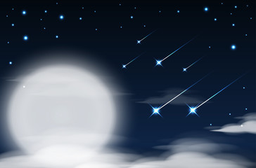 Nighttime sky background with full moon, clouds and stars. Moonlight night. Vector