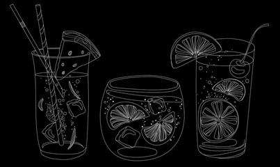 Vector set of summer cooling drinks with fruits. Collection of stylized alcoholic cocktails in glasses. Black and white drawing by hand. Linear Art. The Doodle. Bar menu.