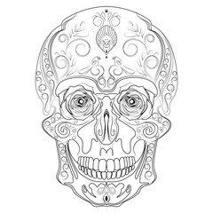 Vector stylized skull. Human skull with ornaments. Linear Art. Tattoo.