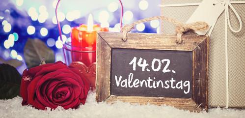 14.02.Valentinstag Rose Karte Bokeh Romantisch