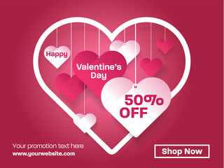 Valentines day Decorative Paper Art Illustration with Heart Shaped. For Invitation card, Posters, Brochure, Flyer, Promotion Banners.