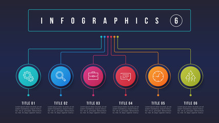 Vector 6 options infographic design, structure chart, presentation template. Wall mural