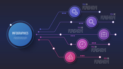 Vector 5 options infographic design, structure chart, presentation template.
