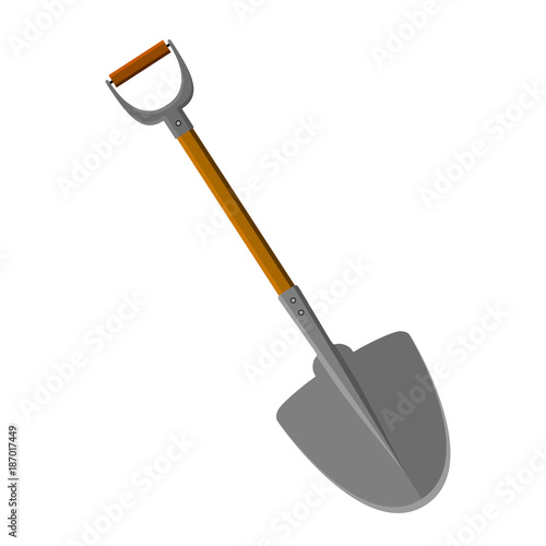 A Shovel With Handle Ferrule Wooden Staff Isolated White Background