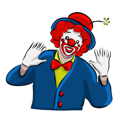 Hand drawn clown icon, vector