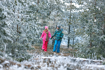 Male and female child walking in snowy nature