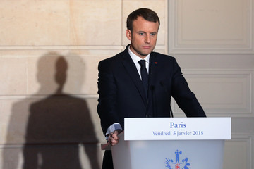 French President Emmanuel Macron attends a joint press conference with the Turkish president at the Elysee Palace in Paris