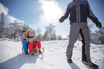 Children on sleds on winter holiday