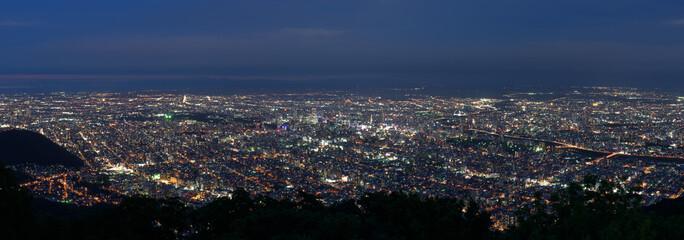 Sapporo city night view from Mount Moiwa, Sapporo, Hokkaido, Japan