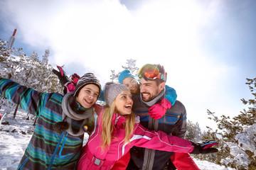 Happy family on skiing