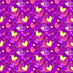 Neon colors heart shapes love themed seamless pattern