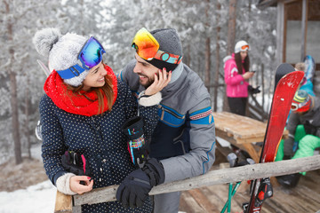 Couple in love on winter vacation