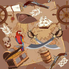 Old pirate treasure map seamless pattern. Treasure chest, parrot steering wheel skull, rum saber pirate hat and ship. Adventure stories seamless background