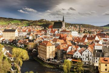 Czech Republic, South Bohemia, Cesky Krumlov, Storm clouds above old town