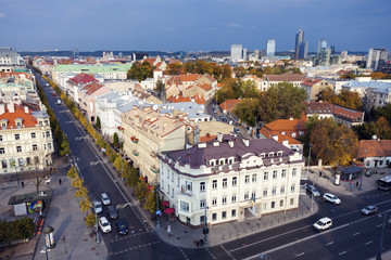 Lithuania, Vilnius, Old architecture of town with skyscrapers in background