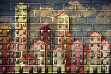Public housing concept image painted on a danish brick wall - I'm the copyright owner of the graffiti images used in this picture.