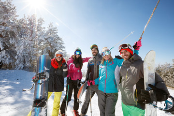 Skiers group together on snow
