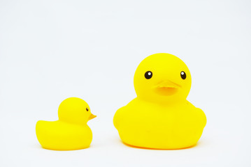 Yellow Rubber Duck Toy Isolated Over White Background
