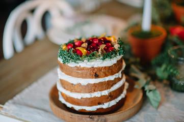 Festive cake on a table
