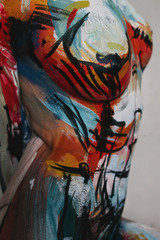 Closeup of bodyart on woman