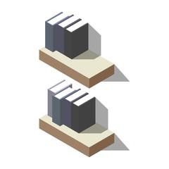 Bookshelves in isometric. library book shelf . shelving with books. archive of books standing on shelves vector illustration isolated on white background