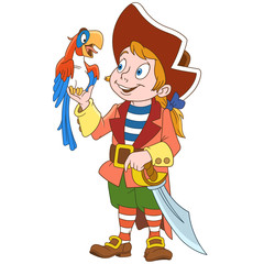 Kids in Professions. Cartoon Pirate and his macaw parrot. Design for children's coloring book.