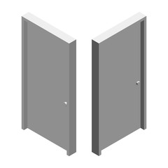 White door. Isolated on white background. 3d Vector illustration. Isometric style.