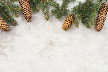 christmas decorations, pine tree branch and cone