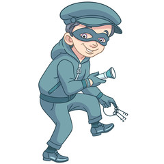 Kids in Professions. Cartoon criminal (thief) with house or bank keys and flashlight is running on tiptoe. Design for children's coloring book.