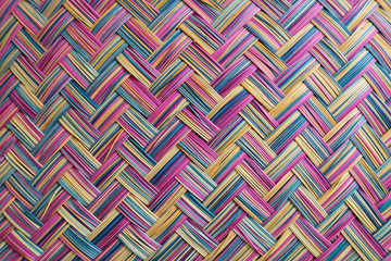 Detail of a colorful basket weaving