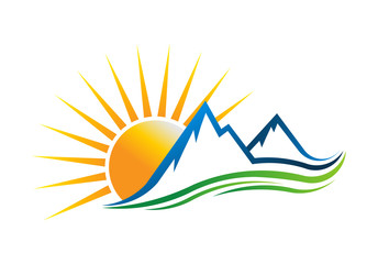 Sun Mountains Logo Vector illustration
