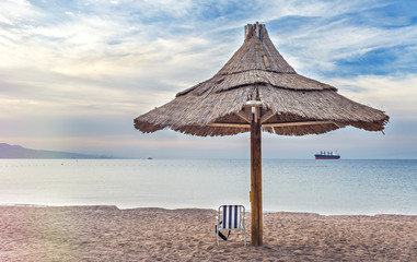 Public sandy beach in Eilat - famous resort and recreation city in Israel