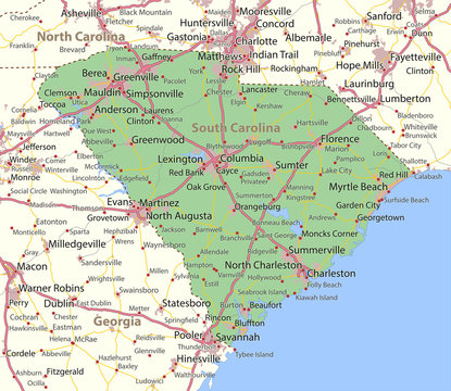 South Carolina-US-States-VectorMap-A