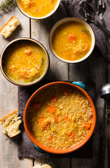 Bowls of Lemony Lentil Soup