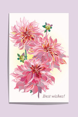 Series of greeting backgrounds with summer and spring flowers. Floral decorations with peonies, roses and dahlias. Vector illustration.