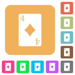 Four of diamonds card rounded square flat icons