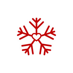 Red heart snow flake, Christmas of love,