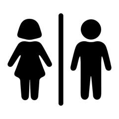 Забавный, веселый, оригинальный знак, значок мужского и женского туалета. Векторная иллюстрация.