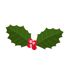 Christmas plant symbol holly berry. Vector illustrationv