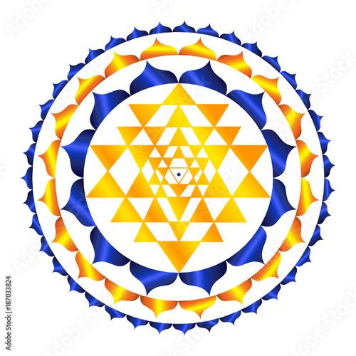 Sacred Indian Geometry Mystical Meditative Diagram Symbol - Vector