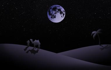 Illustration von Nacht Szene in die Wüste mit Vollmond, Palme und Beduine mit Kamel