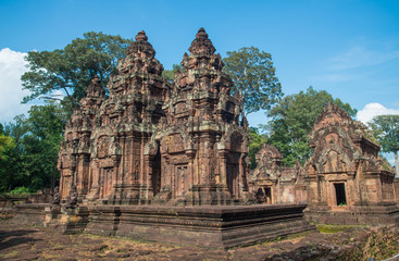 Banteay Srei the gem of Khmer empire this place is the only one temple made by pink sandstone in Siem Reap, Cambodia.