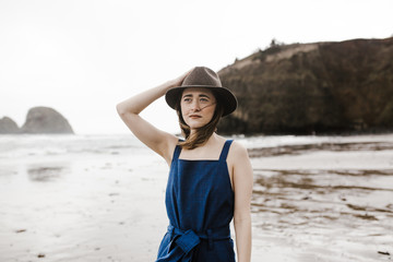 Stylish Girl at the Coast in Blue Romper