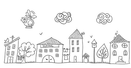 Funny children's drawing of the street.
