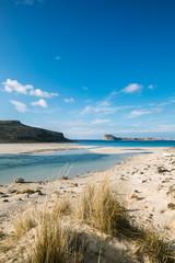 blue lagoon on white sandy beach, greece, crete