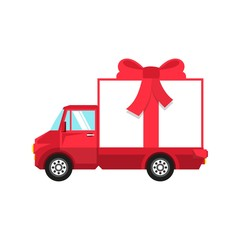 New Year red truck with box in the form of  gift box tied with  red bow.
